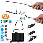 8LED 8mm HD Motorcycle Inspect Camera Hard 5m Endoscope Tube for Android WinOS
