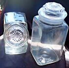 2 VINTAGE ANCHOR HOCKING WEXFORD CLEAR GLASS CANISTERS-1 GAL PENNY CANDY/TALL SQ