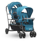Baby Stroller Three Child Carrier Cart Stand On Triple Cart Outdoor Turquoise