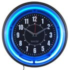 11 Blue Neon Analog Wall Clock