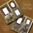 TWO 12X12 PREMADE ZOO SCRAPBOOK PAGES ELEPHANT HIPPO  RHINO