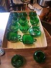 Set of 8 Anchor Hocking Green Tea/Punch Cups w/ Sugar Cream Dishes
