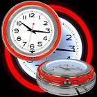 14 Inch Double Ring Neon Clock Red Outer Ring White Inner Ring Pull Chain