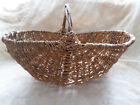 LARGE VINTAGE WOVEN TWIG FLOWER GATHERING BASKET PRIMITIVE HAND MADE BRANCH WOOD