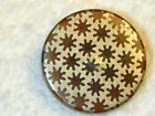 Antique Horn Button w Silver Overlay Inlay with cut out star flowers 7/8