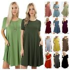 Women's Short Sleeve Round Hem A-line Basic Knit Dress Side Pockets Tunic Top