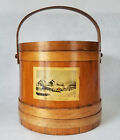 Large Vintage Wood Sugar Bucket w/ Currier/Ives Paper Label - Mid 20th Century