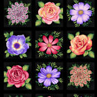 Henry Glass Botanical Blooms Fussy Cut Flower Blocks Panel