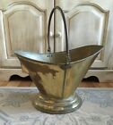 Vintage Large Brass Ash Coal Fireplace Hearth Bucket w/ Copper Handle