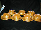 #4-1950'S VINTAGE OVEN FIRE KING WARE PEACH LUSTRE LAUREL LEAF/7 CUP AND SAUCERS