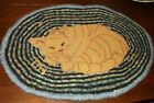 Vintage Primitive Kitty Cat Hand Hooked Rug/Mat 17 1/2