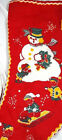 RARE Vtg STOCKING Christmas Printed Flannel Felt 1940s SNOWMAN ELVES SLED EXC