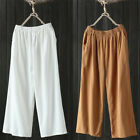 Women Linen Cotton Harem Pants Baggy Loose Fit Trousers Casual High Waist Pants