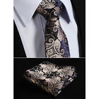 New Mens Tie Gold Brown Navy Blue  Paisley Silk Floral Gift Necktie Hanky STS1