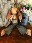 PRIMITIVE BUNNY RABBIT DOLL Grungy Make Do Vintage Wool EASTER Hand Made