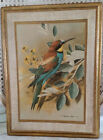 Vintage Florentine Plaque Turquoise Blue Rust Bird Bee-Eater By Basil Ede Italy