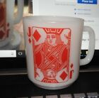 VINTAGE MILK GLASS RED JACK OF DIAMONDS PLAYING CARD MUG/ CUP dD HANDLE