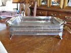 VINTAGE FIRE KING OVENWARE GLASS 1 1/2 QT. BAKING DISH with ITALIAN SILVER STAND