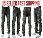 MEN STRETCH RIPPED SKINNY BIKER JEANS DESTROYED TAPERED SLIM FIT DENIM PANTS 2