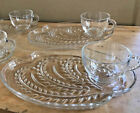 Hospitality Snack Set 8 Pieces Plates and Cups Homestead Wheat Federal Glass Co