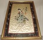 Antique Signed (unreadable to me) Original Framed Satin Painting Girl of Sage