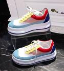 Europe Womens Round Toe Thick Platform Rainbow Colors Lace Up Sneakers Shoes