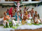 LARGE 1940s Nativity 21 Piece Chalk Ware Set With or Without Bark Manger Creche