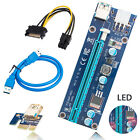 Lot USB30 PCI E Express 1x To 16x Extender Riser Card Adapter Power Cable w LED