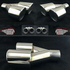 2x Universal Dual Pipe Exhaust Tip 25 Inlet Car Stainless Steel Muffler WeldOn