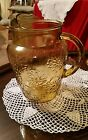 Large Vintage Amber Glass Daisy Design Water Lemonade Pitcher with Ice Lip
