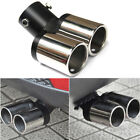 Car Vehicles Chrome Dual Exhaust Double Muffler Pipe Modified Rear Tail Throat