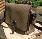Vintage Signature Bally Waxed Canvas  Leather Crossbody Shoulder Bag