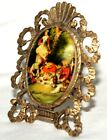 Ornate Victorian Style Vintage Small Brass Standing Frame w Porcelain Picture