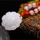 Natural Hand-carved Chinese Jade Pendant Lotus Flower Free Necklace