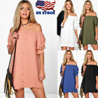 Sexy Women's Off Shoulder Button Shirt Mini Short Dress Loose Blouse Casual Tops