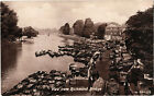 View from Richmond Bridge, River Thames, old sepia postcard, unposted