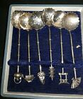 Set of 6 Sterling Silver 950  Asian Demitasse Spoons