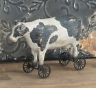 NEW! Primitive Country Farmhouse Black/White Resin COW ON WHEELS Figurine/Sitter