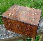 Antique Marquetry Box Tea Caddy Jewelry Sewing
