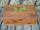 ANTIQUE FLOWER CARVED WOODEN DOVETAIL CORNERS HINGED JEWLRY BOX w/ MIRROR 10
