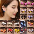 Cute Candy Color Double Side Round Pearl Earings Resin Crystal Ball Ear Studs KP