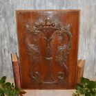 Antique French Carved Wood Cabinet Door Panel Figural Dragons Gargoyles Griffins