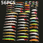 56pcs Lot Mixed Minnow Fishing Lures Bass Baits Crankbaits Fish Hooks Tackle US