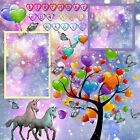 PREMADE ARTISTIC LAYOUT BIRTHDAY SCRAPBOOK PAGE WITH UNICORNS AND BALLOONS