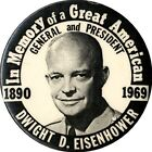 1969 Dwight Eisenhower GREAT AMERICAN Memorial Button (4342)