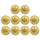 SPECIAL PRICE! BANK WIRE. Canada 1 oz Gold Maple Leaf.9999(Random Year)Lot of 10