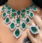 925 Sterling Silver Cz Green Cabochon Pear White Round Fancy Necklace Niki Gems