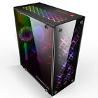 Pro Gaming Computer ATX PC Case Mid Tower USB 30 With 3 RGB 120mm Cooling Fans
