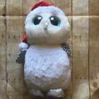 """Ty Beanie Boo TINSEL Owl White/Black Silver Holiday 24""""Retired Hat Christmas"""