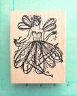 BEAUTIFUL FLYING FAIRY  Large Retired Rubber Stamp Flower Glitter Angel Wings
